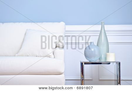 White Couch And Vases