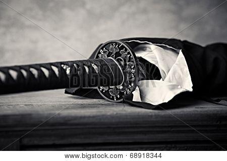 Wakizashi, Traditional  Japanese Sword (close-up)