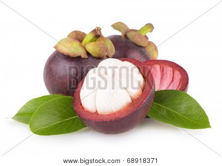 ripe mangosteen isolated on white background