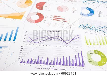 Colorful Graphs, Data Analysis, Marketing Research And Annual Report Background,