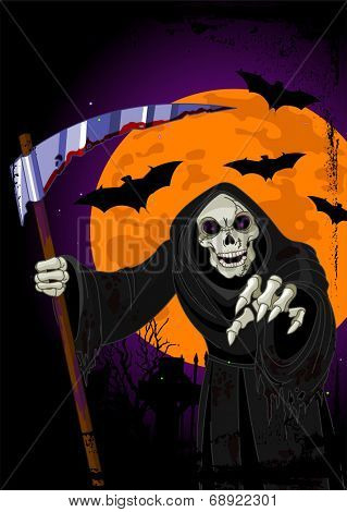 Illustration of Halloween horrible Grim Reaper background