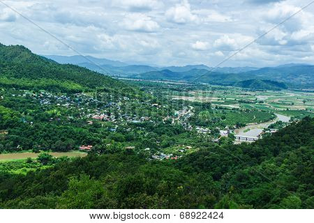 Modern Mae-ai Suburban Districts And Thailand Hills View From Above.