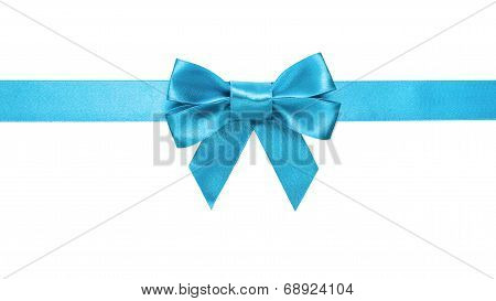 Azure Blue Ribbon Bow Horizontal Border