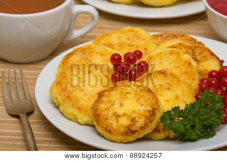 Sweet Cheese Pancakes On A Plate
