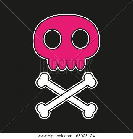 Pink skull with crossbones
