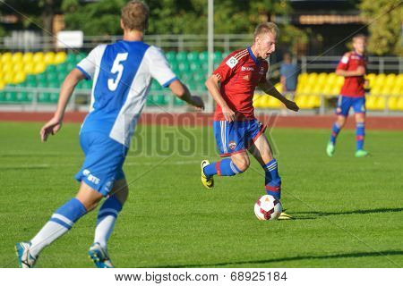 MOSCOW, RUSSIA - JULY 22, 2014: Match Dynamo, Moscow - CSKA, Moscow during the Lev Yashin VTB Cup, the international tournament for U21 soccer teams. Dynamo won 1-0