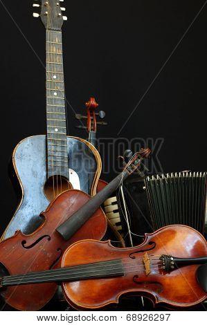 Violin guitar and accordion still life 3