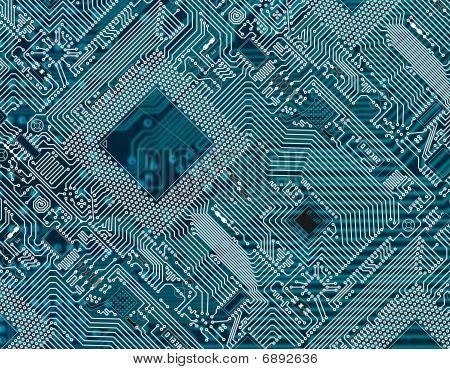Printed Dark Blue Industrial Circuit Board Background