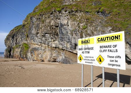 Ballybunion Beach Cliff Falls Warning Sign