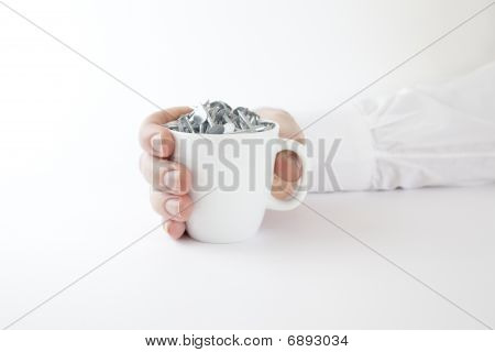 Business Man Holding Coffee Cup Of Nails