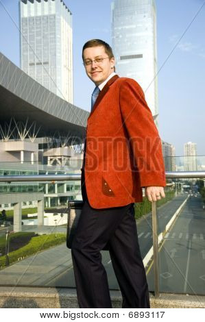 European Businessman Walking