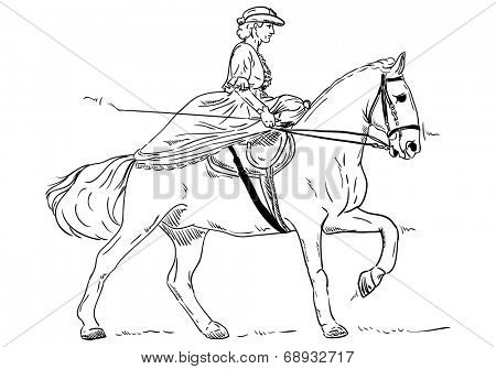 vector - women - Historical Horse Riding