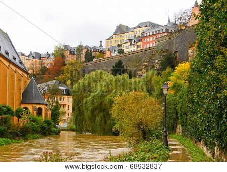 Luxembourg Old City  Grund Quarter And Alzette River