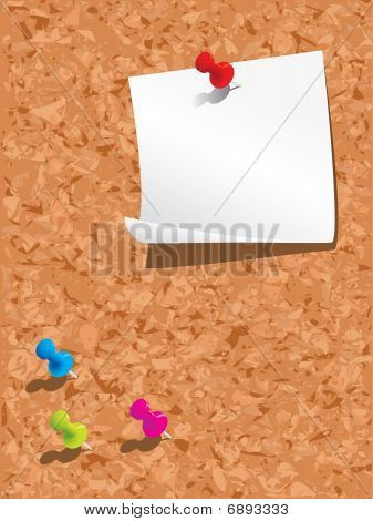 Corkboard, paper and pins