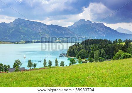 Forggensee lake at Bavarian Alps, Germany
