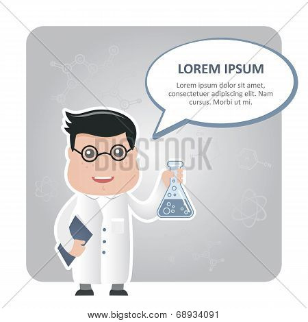 man chemist and a text bubble