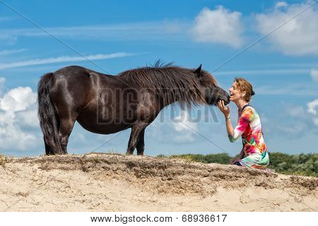 Contact woman and black pony
