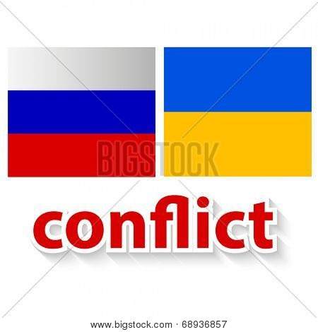 The conflict between Russia and Ukraine - symbolic illustration - image of a flag of the Russian Federation and  flag of the Ukraine and red inscription conflict