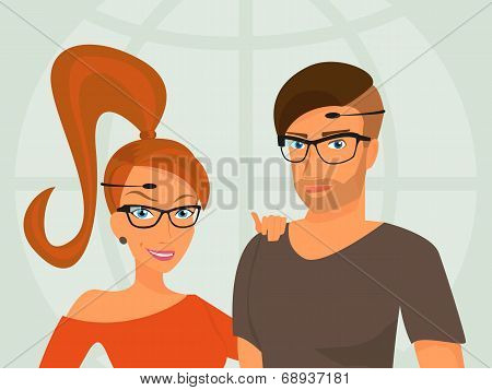 Hipster guy and his smiling girlfriend are wearing glasses