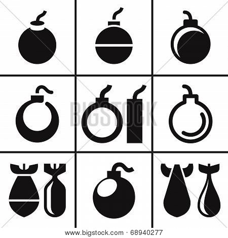 Bombs and rockets icons set