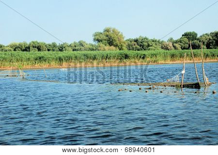 Nature landscape with fishing gear from the Danube Delta, Romania