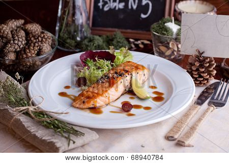 red fish with green