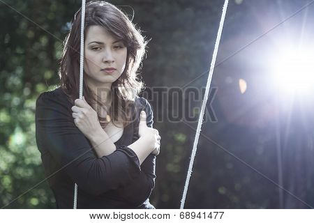 Lonely Young Woman In Sorrow