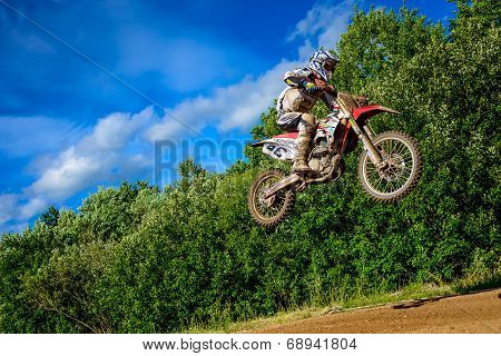 Motocross Rider On The Race