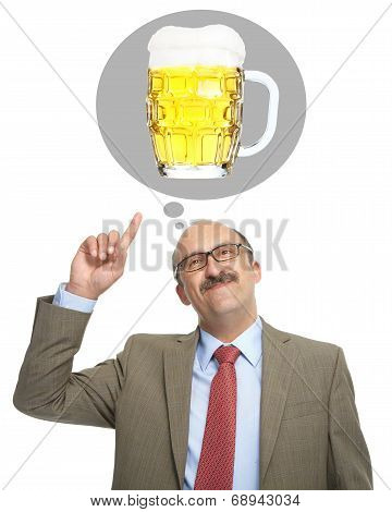 The Man Dreams Of A Glass With Beer