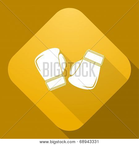 Vector Icon Of Boxing Gloves With A Long Shadow