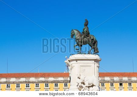 statue of King Jose on the Commerce square  in Lisbon, Portugal