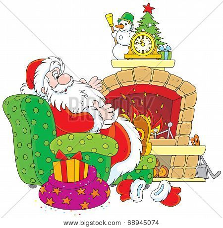 Santa Claus by a fireplace