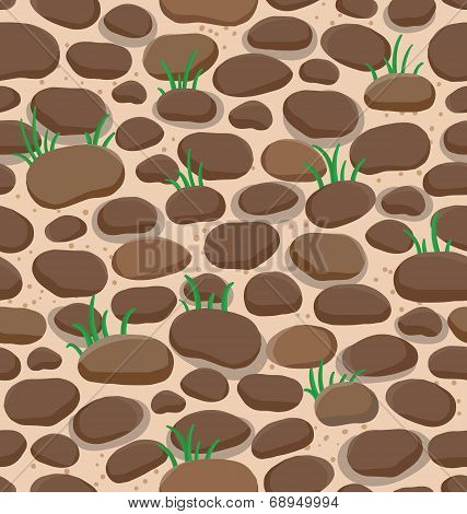Seamless Cartoon Rock Stone Background With Grass For Design And Decorate