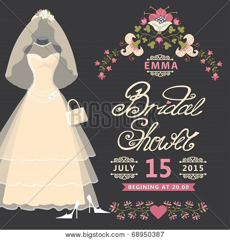 Bridal Shower invitation .Vintage wedding dress with flowers
