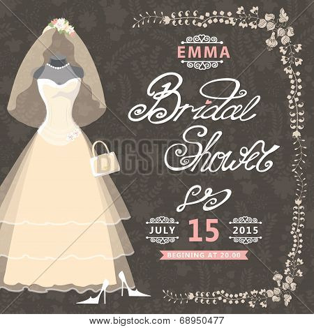 Bridal Shower invitation.Vintage wedding dress,floral pattern