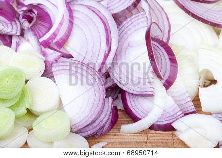 Red, White Onions And Leeks