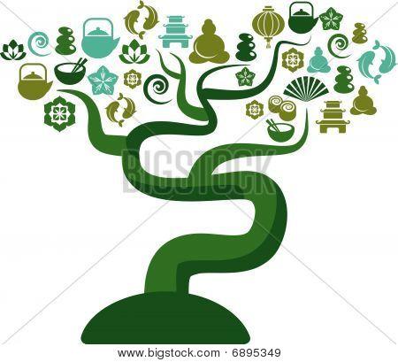 Árvore verde e azul, com ícones e Zen