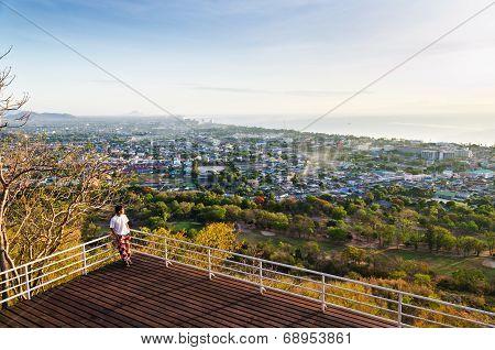 Traveler On View Point Hua Hin City At Sunrise