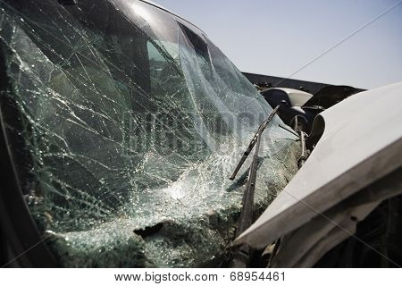Broken car, close-up of windshield