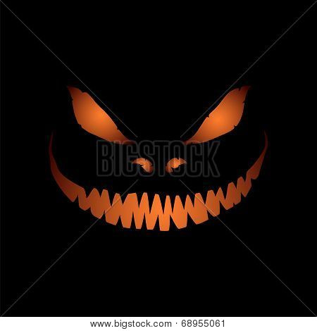 Scary face isolated on black background