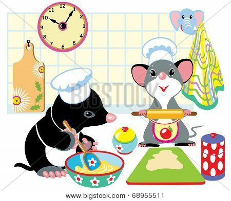 mole and mouse preparing dough