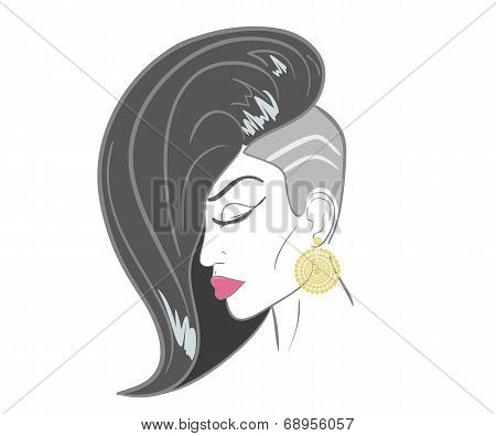 Handdrawn woman face with sensual lips and black hair. close-up illustration - paths outlined