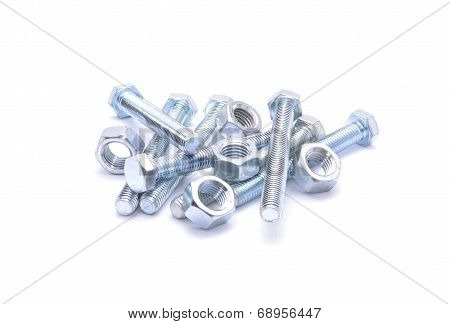 Steel bolts and screw nuts isolated on white background