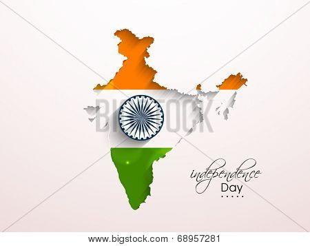 Republic of India map colored in tricolors with Asoka Wheel, concept for Indian Independence Day celebrations.