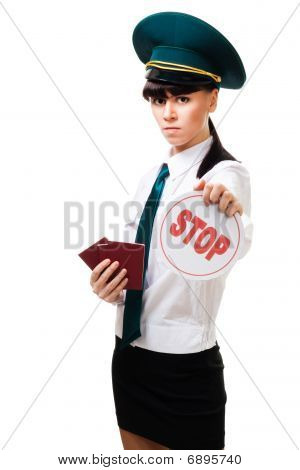 Immigration Worker With Stop Sign