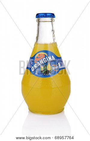 ZAGREB, CROATIA - JULY 24, 2014: Orangina, orange pulp, a small bulbous bottle and a vivid logo. It's indicative of the fruit, sunshine and Mediterranean origins behind this unique French soft drink.