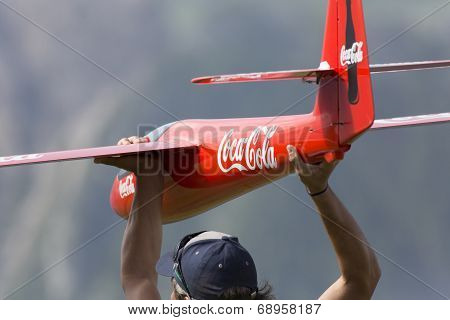 Launching radio controlled airplane