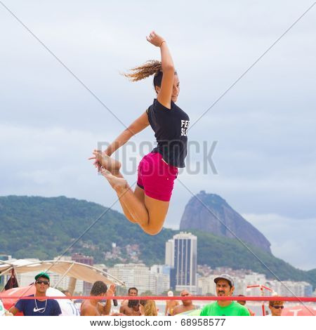 Slackline on Copacabana beach, Rio de Janeiro
