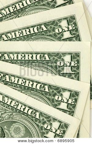 Closeup Shot Of One Dollar Bills