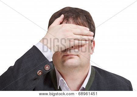 Businessman Closed His Eyes By Hand